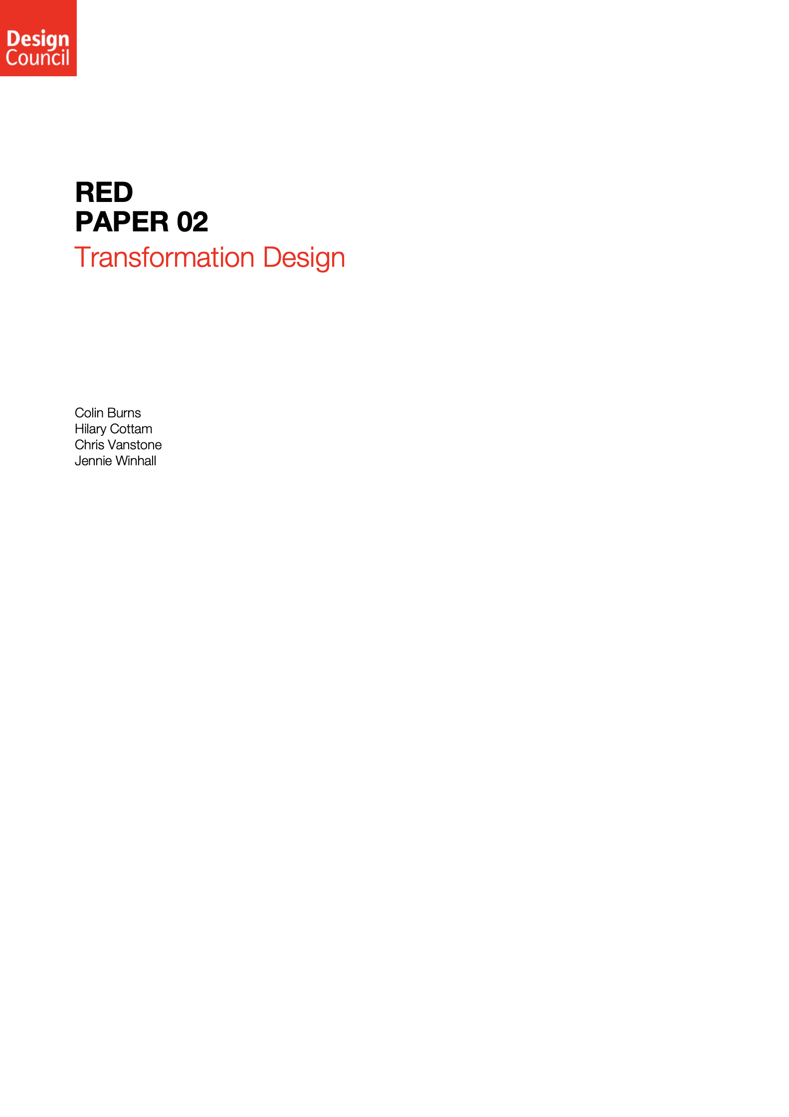 「Red Paper 02: Transformation Design, UK Design Council」