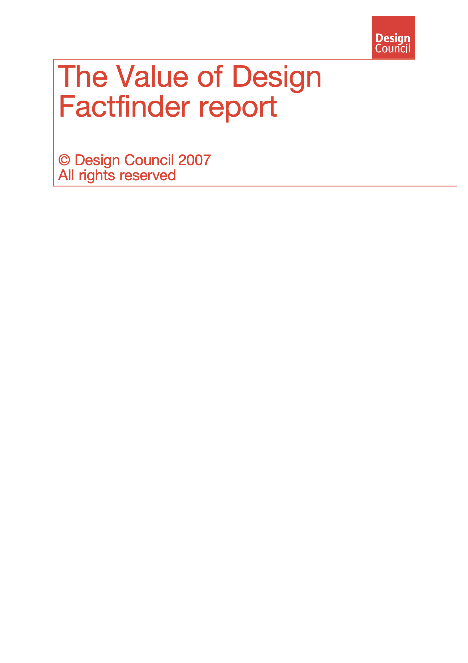 「The Value of Design Factfinder Report」